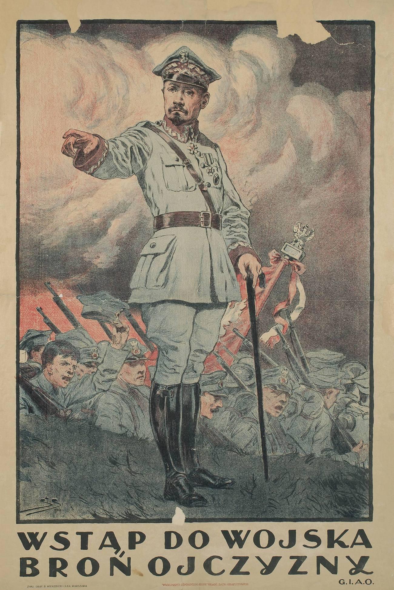 Plakat zachęcający do wstępowania w szeregi Armii Ochotniczej. Sierpień 1920 roku.