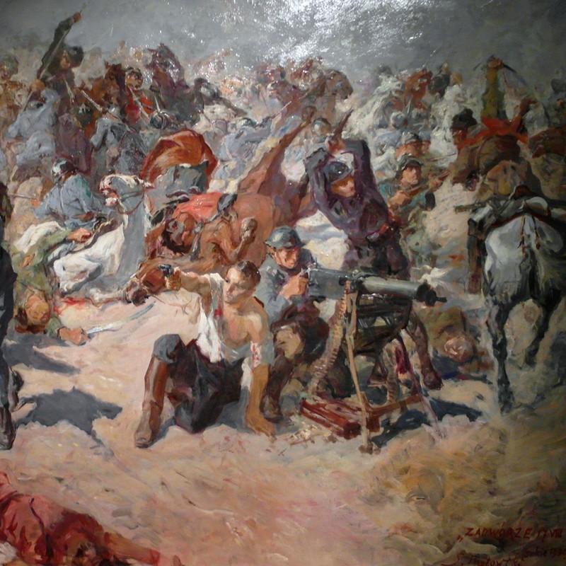 Obrona Zadwórza, fragment obrazu Stanisława Batowskiego Kaczora.