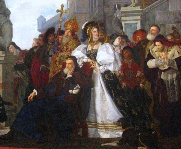 Małżeństwo Bony i Zygmunta może nie było idealne, ale można uznać je za udane. Na ilustracji fragment obrazu Henryka Rodakowskiego.