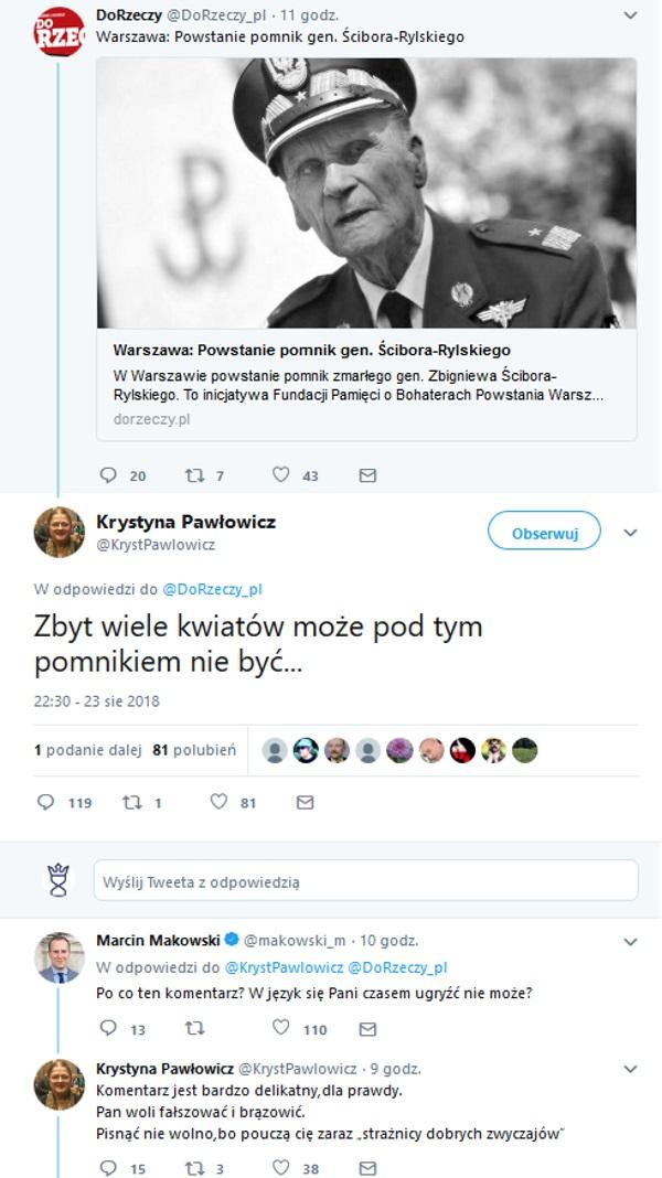 Screen z profilu Krystyny Pawłowicz w serwisie Twitter.