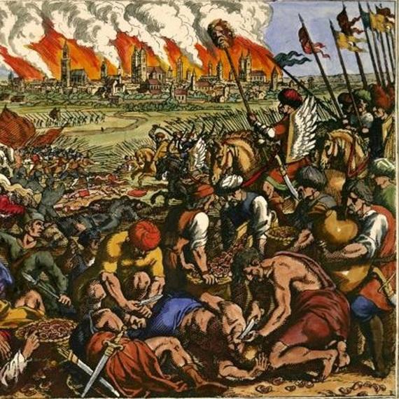 W 1241 roku Tatarzy dotarli pod bramy Krakowa. Wedle lokalnej legendy hejnalista, który wygrywał hejnał na alarm został ugodzony strzałą. Ilustracja poglądowa.