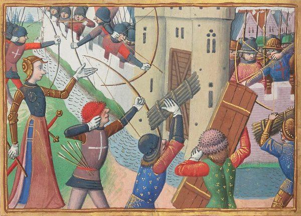 W czasie oblężenia nieraz wykorzystywano także najprostsze zasłony z desek. Na ilustracji oblężenie Paryża przez siły Joanny d'Arc w 1429 roku.
