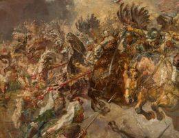 Atak husarii na turecka piechot na obrazie Stanisława Batowskiego-Kaczora.