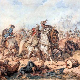 Bitwa pod Parkanami na obrazie Juliusza Kossaka.