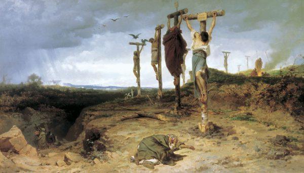 Krassus po upadku powstania ukrzyżował pojmanych niewolników wzdłuż via Appia. Obraz Fiodora Bronnikowa.