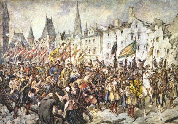 """""""Wjazd Jana III Sobieskiego do Wiednia"""" obraz Juliusza Kossaka."""