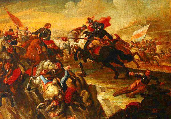 Starcie kuruców z Austriakami na obrazie Georga Philippa Rugendasa.