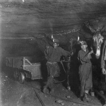 Mali górnicy w kopalni węgla w 1908 roku (fot. Lewis Wickes Hine, lic. domena publiczna)