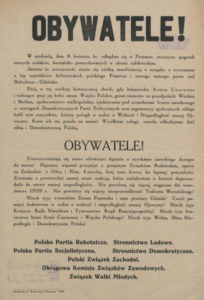 Obwieszczenie z kwietnia 1945 roku o pogrzebie pomordowanych w obozie w Żabikowie.