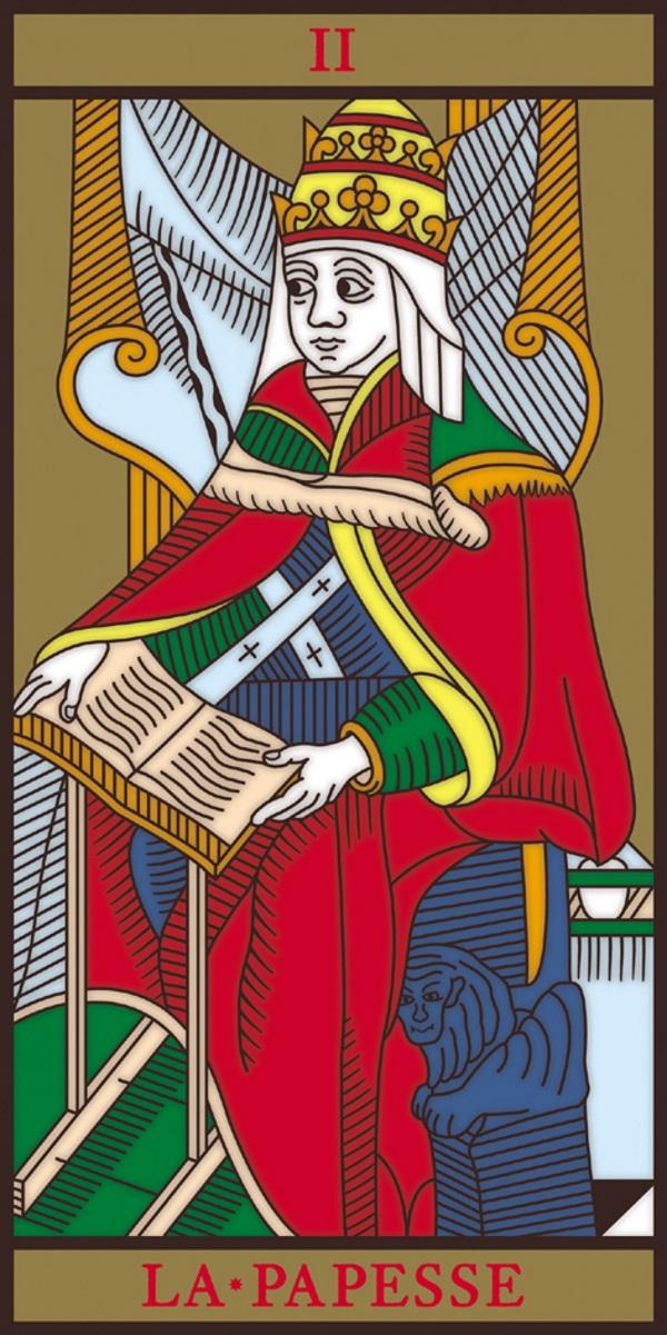 Papieżyca na karcie Tarota (fot. Danielrodes, lic. CC BY-SA 2.5)