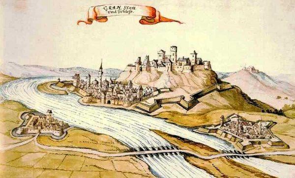Parkany (po lewej stronie rzeki) oraz Ostrzyhom na XVII-wiecznym rysunku.