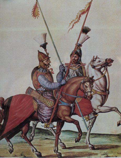 Rysunek przedstawiający spahisów z okresu bitwy pod Parkanami.