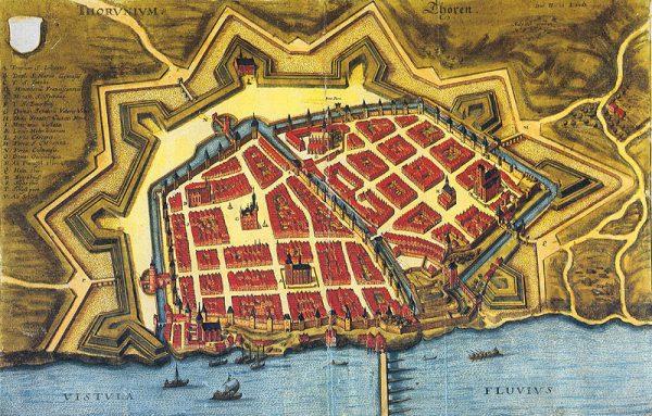 Toruń rozwinął się jako miasto krzyżackie. Mapa z początku XVII wieku.