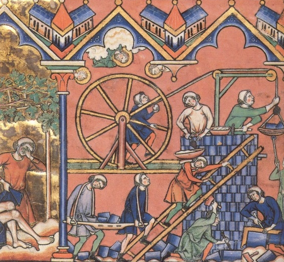 XIII-wieczny dźwig na francuskiej miniaturze