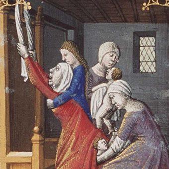 Poród wiązał się z ogromnym zagrożeniem nie tylko dla kobiety, ale i dla dziecka. Ilustracja z XV wieku.