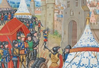 Próba zdobycia chronionego murami miasta wiązała się zwykle z wielkimi kosztami. Ilustracja przedstawia oblężenie Reims przez króla Edwarda III.