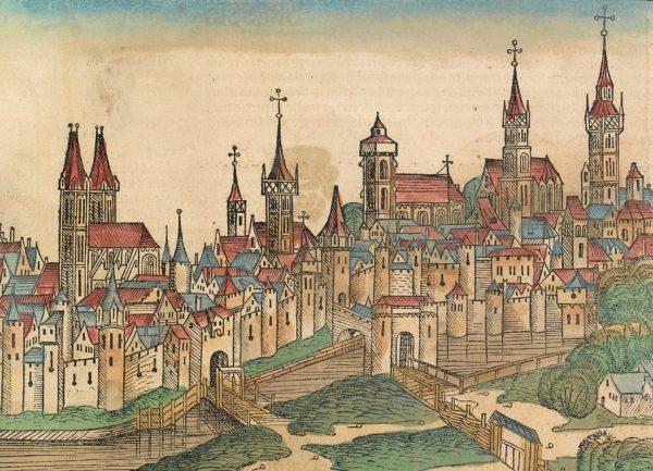 Wrocław leżał na trasie z Niemiec nad Morze Czarne. Ilustracja z XV wieku.