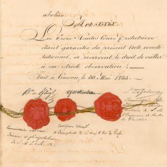 Druga konstytucja Wolnego Miasta Krakowa, narzucona mu w 1833 roku, znacznie ograniczała jego swobodę.