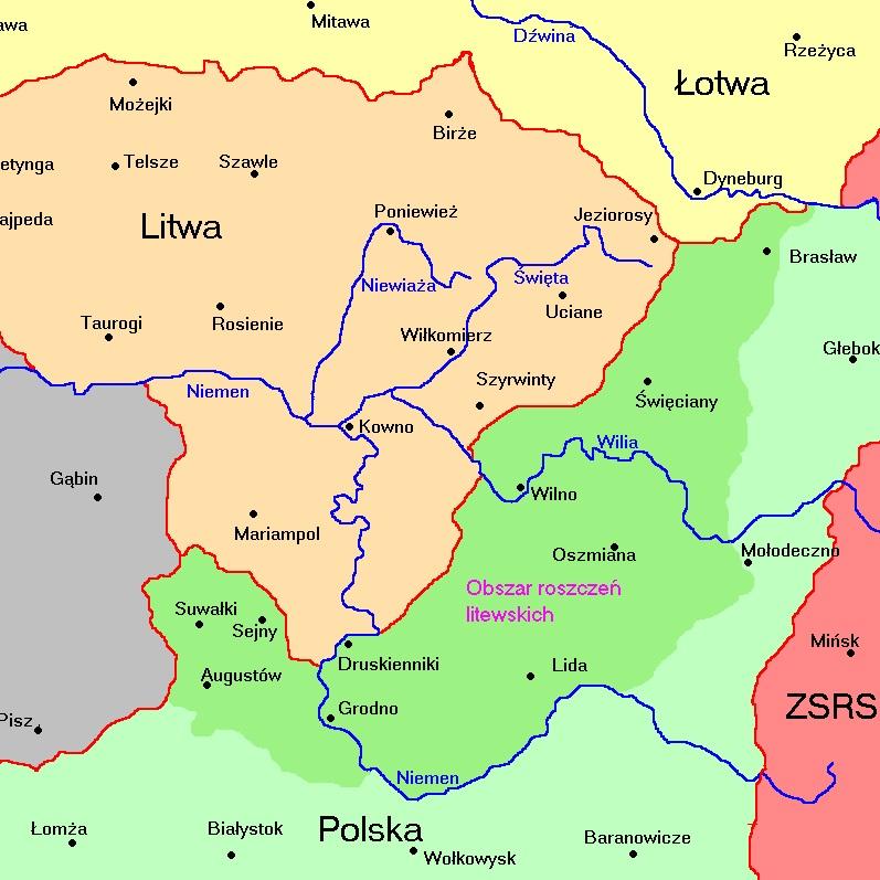 Litwa w 1920 roku utraciła część terytorium, na którym powstała Litwa Środkowa.