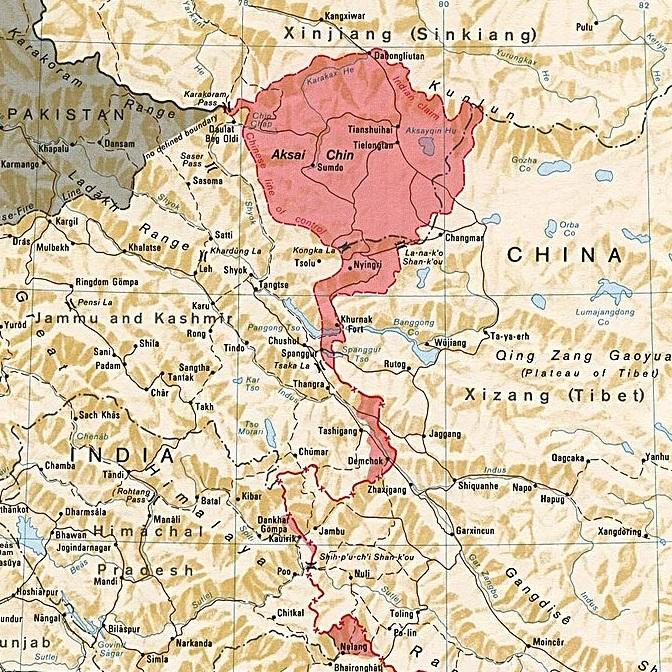 Jednym ze spornych terytoriów był leżący na Wyżynie Tybetańskiej region Aksai Chin.