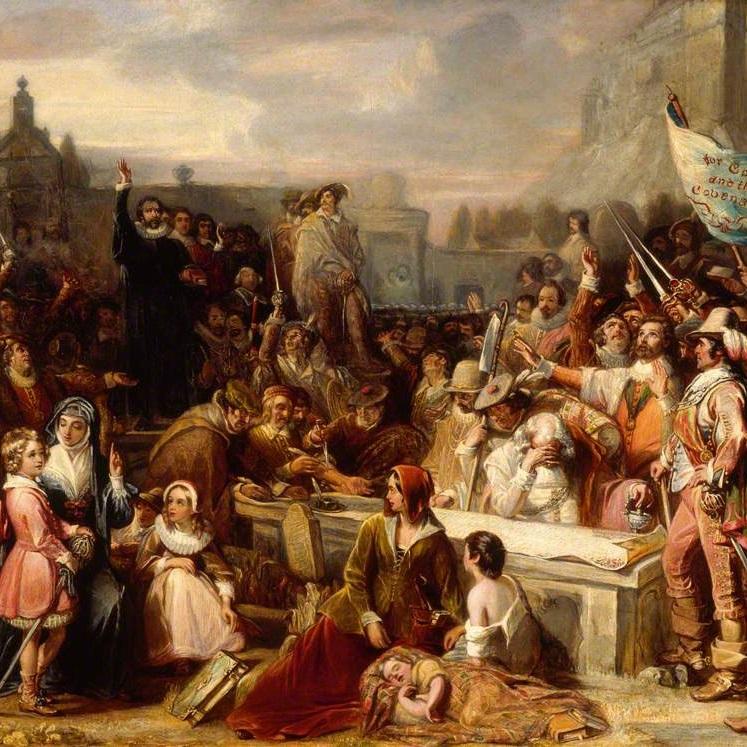 Szkoci w 1638 roku uchwalili Narodowe Przymierze, sprzeciwiając się nowinkom liturgicznym narzucanym przez Anglię.