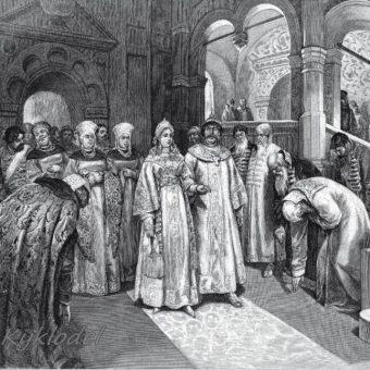 Wasyl III panował w latach 1505-1533. Ilustracja przedstawia jego ślub z drugą żoną, Litwinką Heleną Glińską.