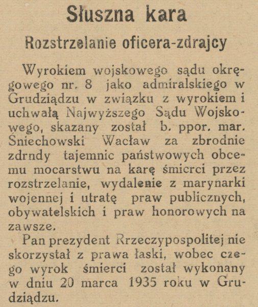 O egzekucji Wacława Śniechowskiego donosiła prasa w całym kraju.