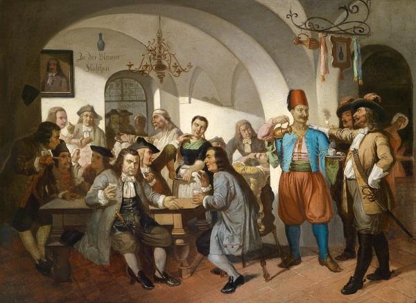 Obraz przedstawiający wiedeńską kawiarnię Kulczyckiego (fot. domena publiczna)
