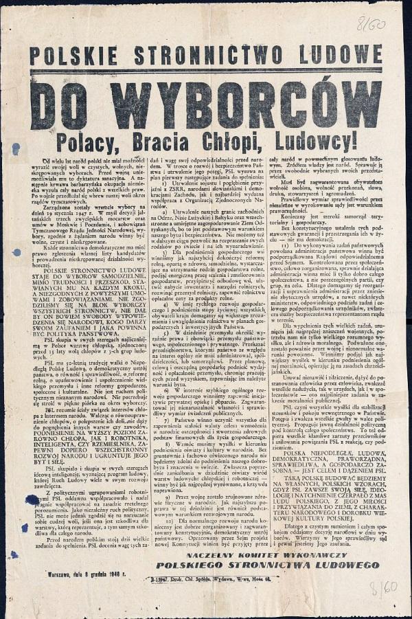 Odezwa wyborcza PSL z grudnia 1946 roku, przed sfałszowanymi przez komunistów wyborami w 1947 roku (fot. domena publiczna)