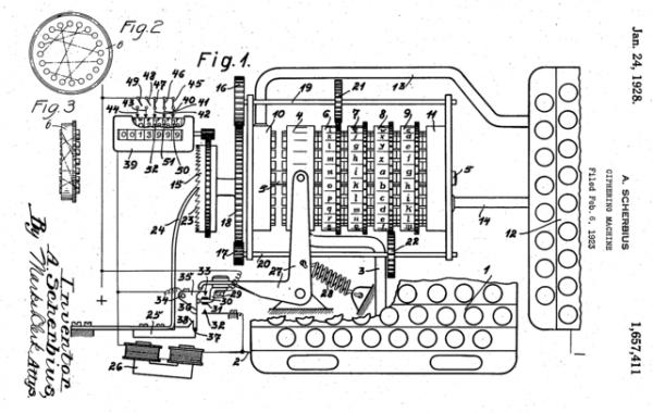 Początkowo Enigmę wykorzystywano w sektorze cywilnym. Na ilustracji rysunek z amerykańskiego patentu uzyskanego przez Artura Scherbiusa w 1928 roku.