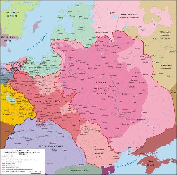 Polska i Litwa za panowania Jagiełły (fot. Poznaniak, lic. CC BY-SA 3.0)