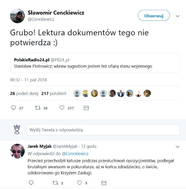 Screen tweeta opublikowanego przez Sławomira Cenckiewicza.