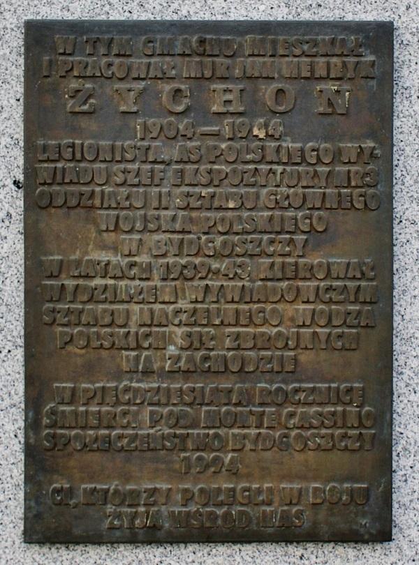 Tablica poświęcona Janowi Żychoniowi w Bydgoszczy (fot. Bosyantek, lic. CC BY-SA 3.0)