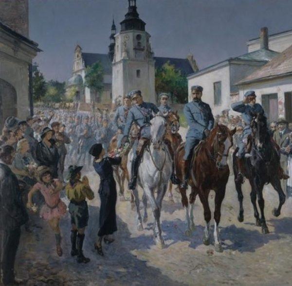 Wejście pierwszej kompanii do Kielc na obrazie Stanisława Batowskiego