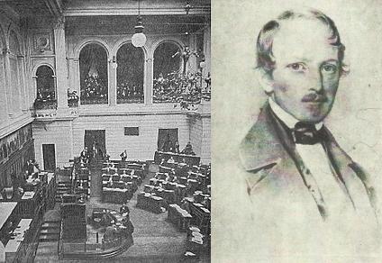 Portret posła Maurycego Kraińskiego i sala posiedzeń Sejmu Krajowego podczas obrad.