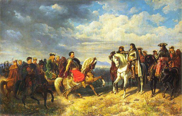 Spotkanie Jana III Sobieskiego z Leopoldem I przedstawił na płótnie Artur Grottger.