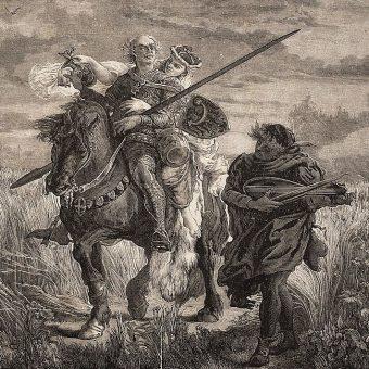 Bolesław II Rogatka z Zofią de Doren i swym ulubionym lutnistą na drzeworycie według rysunku Jana Matejki.