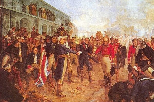 Utrzymanie władzy i porządku na podbitych terytoriach pochłaniało ogromne fundusze. Na obrazie rekonkwista Buenos Aires.