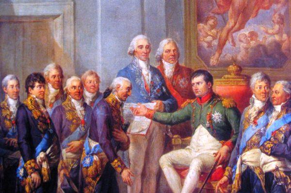 U boku Napoleona walczyło wielu Polaków. To dzięki niemu powstało Księstwo Warszawskie. Na obrazie nadanie konstytucji Księstwa w 1807 roku.
