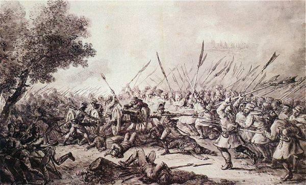 Bitwa pod Racławicami na rysunku Aleksandra Orłowskiego.
