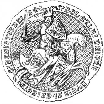Pieczęć konna Bolesława III Rozrzutnego z 1337 roku.