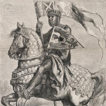 Bolesław I Wysoki na drzeworycie Konstantego Przykorskiego według rysunku Jana Matejki.