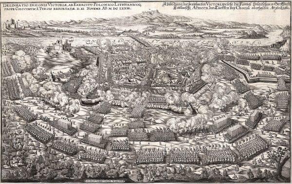 XVII-wieczny drzeworyt przedstawiający bitwę pod Chocimiem.