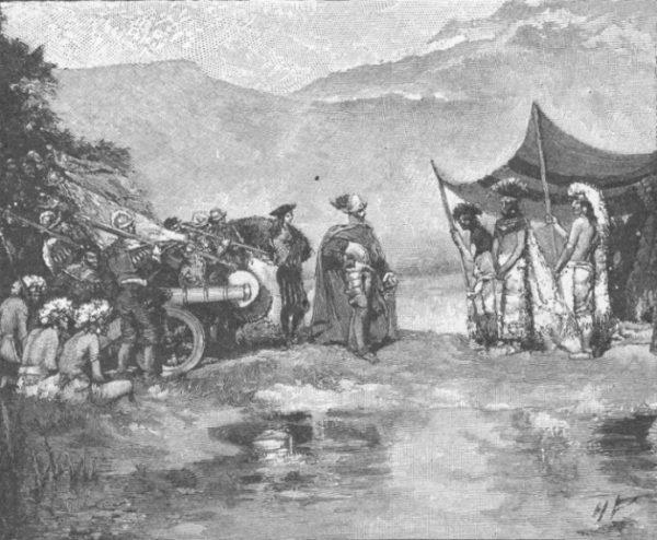 Srebro, zdobywane na terytoriach Inków i Azteków, stało się podstawą potęgi Hiszpanii. Na ilustracji Hernan Cortes i Montezuma.