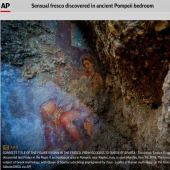 Fresk przedstawiający fragment mitu o Ledzie i Łabędziu odkryty w Pompejach (fot. screen materiału przygotowanego przez Associated Press)