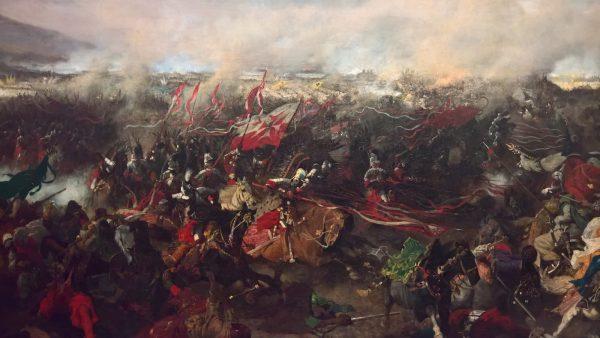 Uderzając na wąskim odcinku husaria miała olbrzymią siłę przełamującą. Na ilustracji szarża husarii pod Wiedniem według Józefa Brandta.