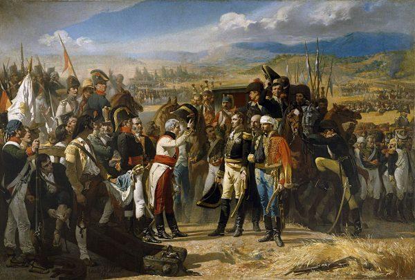 Porażka pod Bailén była pierwszą poważną klęską Francuzów. Na ilustracji obraz José Casado del Alisala przedstawiający moment kapitulacji.