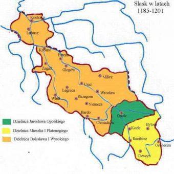 Księstwo Opolskie pod rządami Jarosława w latach 1173–1201 (kolor zielony) (fot. Zuber , lic. CC BY-SA 3.0)