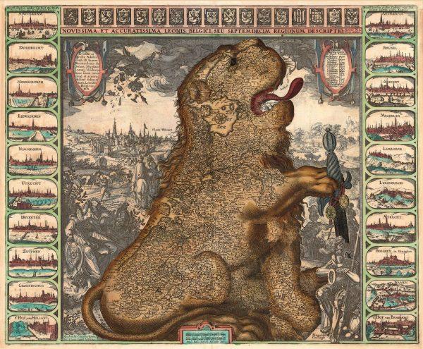 """W """"Złotym atlasie"""" znajdziemy setki pięknych map. Nie zabrakło tam również Leo belgicusa Claesa Janszoona Visschera."""