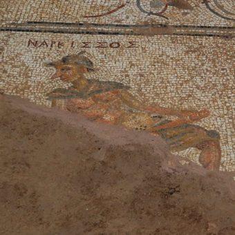 Mozaika przedstawiająca Narcyza, odkryta przez ekipę archeologów z Nebraski (fot. University of Nebraska)